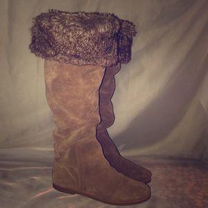 Sam Edelman Brown Suede Faux Fur Boots